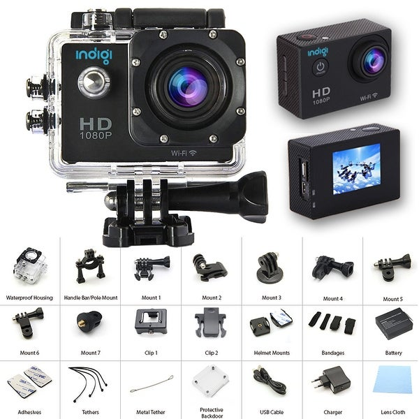 "Indigi NEW Waterproof Action Sports CAM - Photo(12MP) & Video Mode(4K/1080p/720p) - Wide Angle - All Mounts Included - 1.5"" LCD"