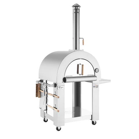 Empava Free Standing Wood Burning Outdoor Pizza Oven with Side Panel in Stainless Steel