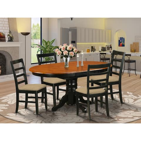 5-piece Dining Room Set with Oval Table and 4 Chairs in Black and Cherry Finish
