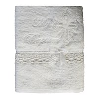 Baby Boys Girls White Embroidered Cross Dove Lace Trims Christening Towel