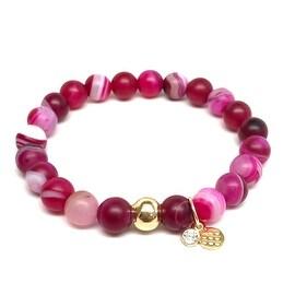 Wine Agate 'Zoe' Stretch Bracelet 14k over Sterling Silver