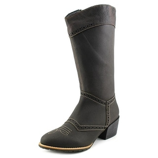 All Black Tex Boot Women  Round Toe Leather  Western Boot