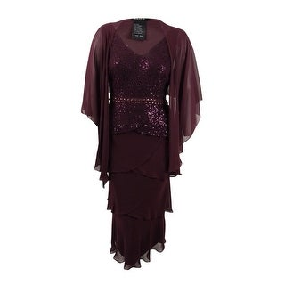 SL Fashions Women's Plus Size Sequined-Lace Tiered Dress & Jacket