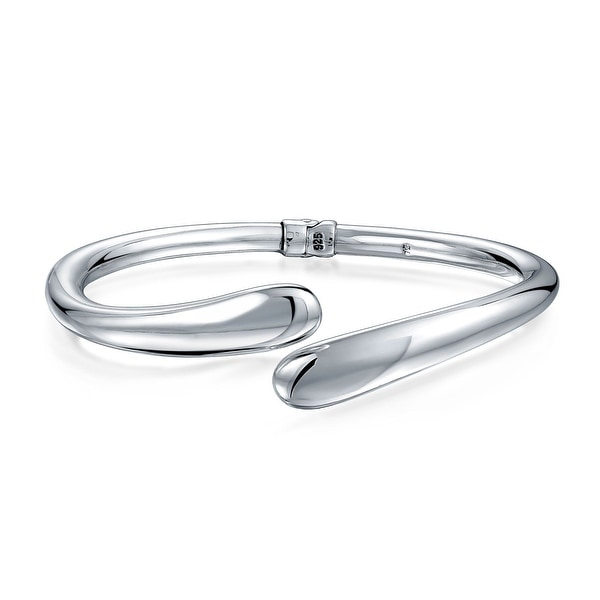 d3078fcf0f720 Shop Simple Rounded Tip Bypass Hinge Bangle Bracelet For Women Hollow High  Polished Shinny 925 Sterling Silver - On Sale - Free Shipping Today -  Overstock - ...
