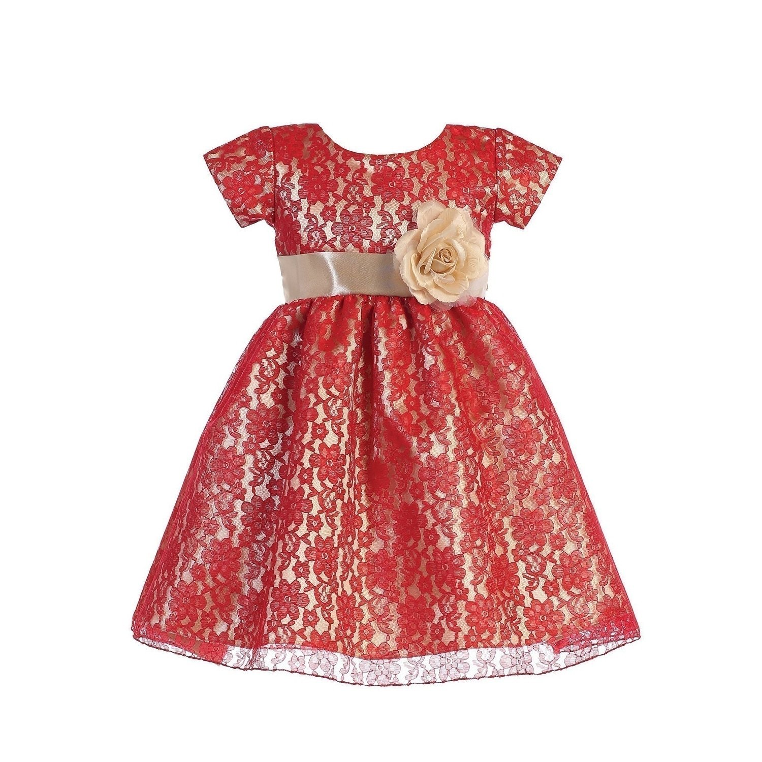 Lito Baby Girls Red Gold Lace Shiny Satin Underlay Christmas Dress - 5-5  Months