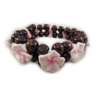 Charming Shark Womens Flower Bead Bracelet Elastic White/Pink
