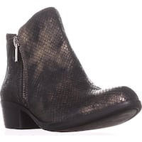 Lucky Brand Basel Side Zip Ankle Boots, Black/Gold