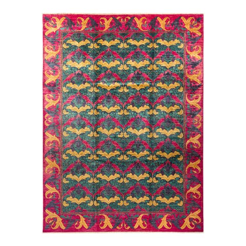 """Arts & Crafts, One-of-a-Kind Hand-Knotted Area Rug - Purple, 9' 0"""" x 12' 2"""" - 9' 0"""" x 12' 2"""""""