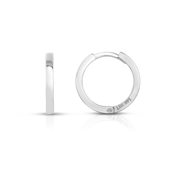 Mcs Jewelry Inc 14 KARAT SOLID WHITE GOLD Leverback HOOP EARRINGS (DIAMETER: 13MM)