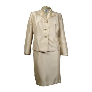 Le Suit Women's Quebec Organza-Collar Sheen Slub Skirt Suit - Champagne