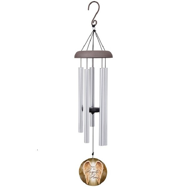 "30"" Silver and Beige Angel's Arms Wind Chime with Printed Sail - N/A"