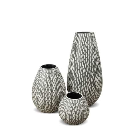 Drop Wide Ceramic Vase 3 Piece Set in Dash Grey Matte Finish - 3 Piece Set
