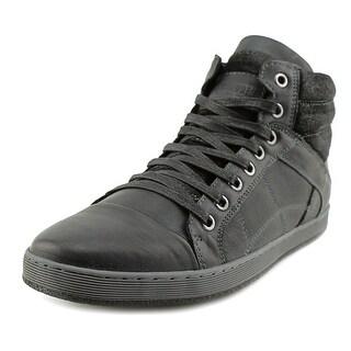 Steve Madden Pavano Men B Round Toe Leather Black Sneakers