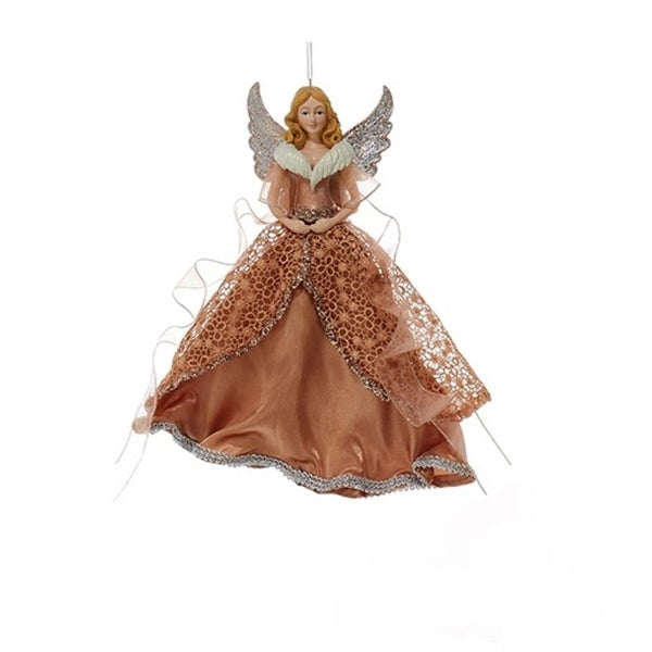 """10"""" Rich Elegance Rose Gold Blonde Angel in Lace Dress with Ribbon Christmas Ornament"""