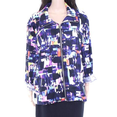 Erin London Womens Jacket Blue Size 2X Plus Full-Zip Stretch Printed