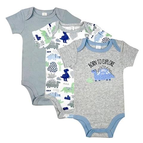 Baby Kiss Baby Onesies For Boys 3-Pack Infant Short Sleeve Bodysuits