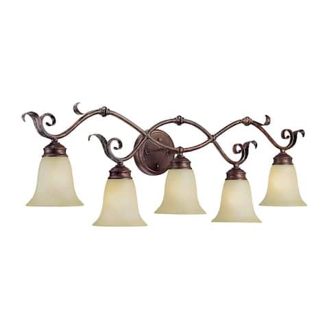 Roanoke Bathroom Vanity Light in Burled Bronze/Silver- 5 Lights