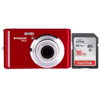 "Polaroid iE826 Digital Camera, 18MP 8x Optical Zoom w/ 2.4"" Display 16GB Bundle"