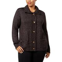 Karen Scott Womens Plus Cardigan Sweater Marled Warm