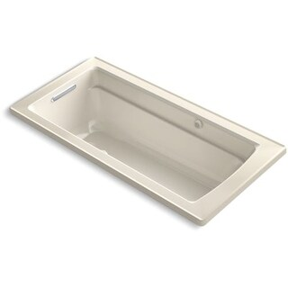 """Kohler K-1949-GW Archer 66"""" Drop In Air Tub with Reversible Drain, Bask, and BubbleMassage"""