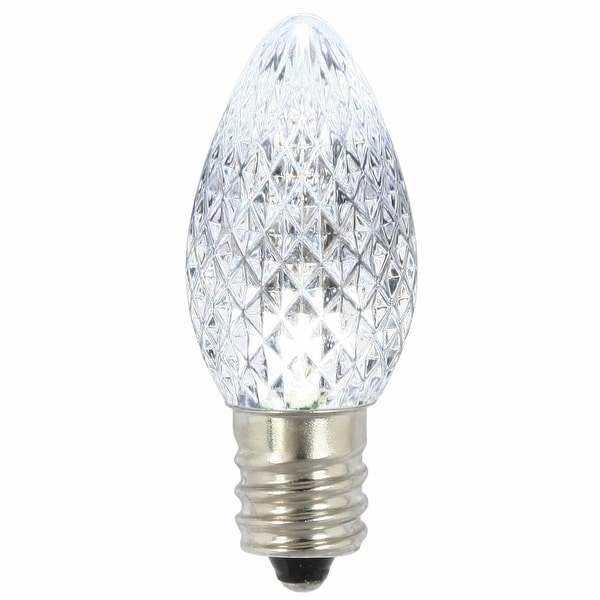 C7 Faceted LED Pure White Twinkle Bulb