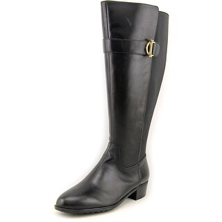 Isaac Mizrahi Senso Wide Calf Round Toe Leather Knee High Boot