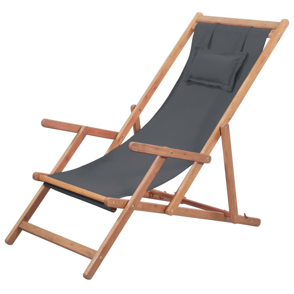 Terrific Vidaxl Folding Beach Chair Fabric And Wooden Frame Gray Beatyapartments Chair Design Images Beatyapartmentscom