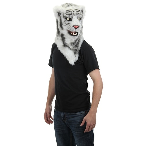 White Tiger Mouth Mover Adult Costume Mask - Multi