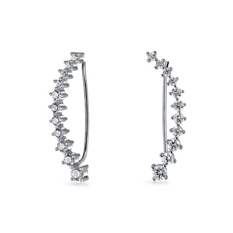 Minimalist Geometric Curved Wire Ear Pin Climbers Earrings For Women Graduated Cubic Zirconia CZ 925 Sterling Silver