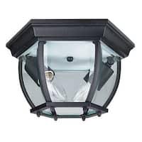 """Sunset Lighting F7898 2 Light Outdoor Cast Aluminum 11"""" Wide Flush Mount Ceiling Fixture"""