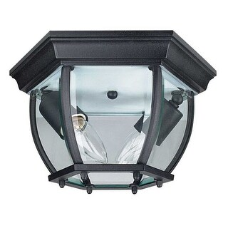 "Sunset Lighting F7898 2 Light Outdoor Cast Aluminum 11"" Wide Flush Mount Ceiling Fixture"