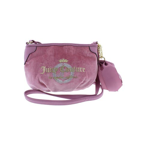 Juicy Couture Womens Glitterazi Crossbody Handbag Velour Faux Leather Trim - Small