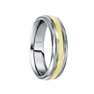 DUILIUS 18K Yellow Gold Inlaid Tungsten Carbide Ring with Dual Grooves by Crown Ring