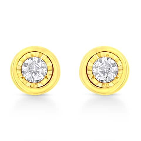 10K Yellow Gold Plated .925 Sterling Silver 1/10 Cttw Miracle-Set Diamond Circle Shape Stud Earrings (K-L Color, I2-I3 Clarity)