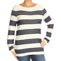 TOMMY HILFIGER Womens Navy Striped Long Sleeve Boat Neck Top  Size: L
