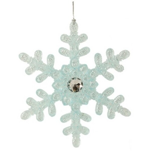 "5"" Ice Palace Elegant Frosted Blue Glittered Snowflake Christmas Ornament"