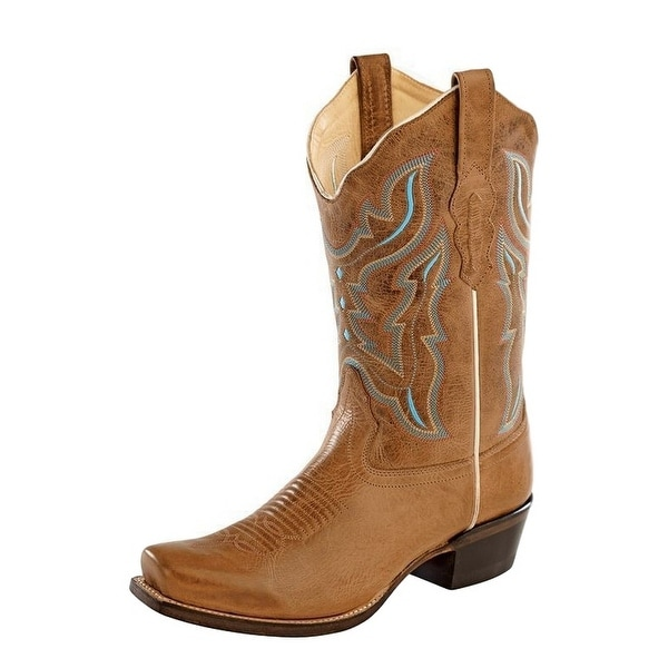 Old West Cowboy Boots Womens Goodyear Scallop Light Brown
