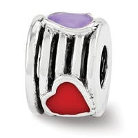 Sterling Silver Reflections Enamel Heart Bead (4mm Diameter Hole)