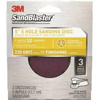 "3M 9425ES SandBlaster Sanding Discs, 5"" x 5-Hole, Fine 220 -Grit, 3-Pack"