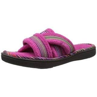 Isotoner Womens Microterry Open Toe Slide Slippers