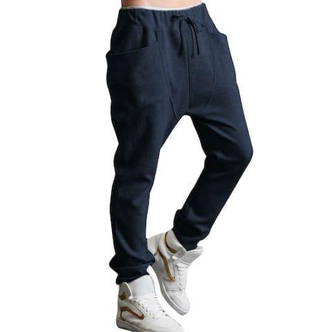 Men Drop Crotch Funnel Pockets Drawstring Sweatpants