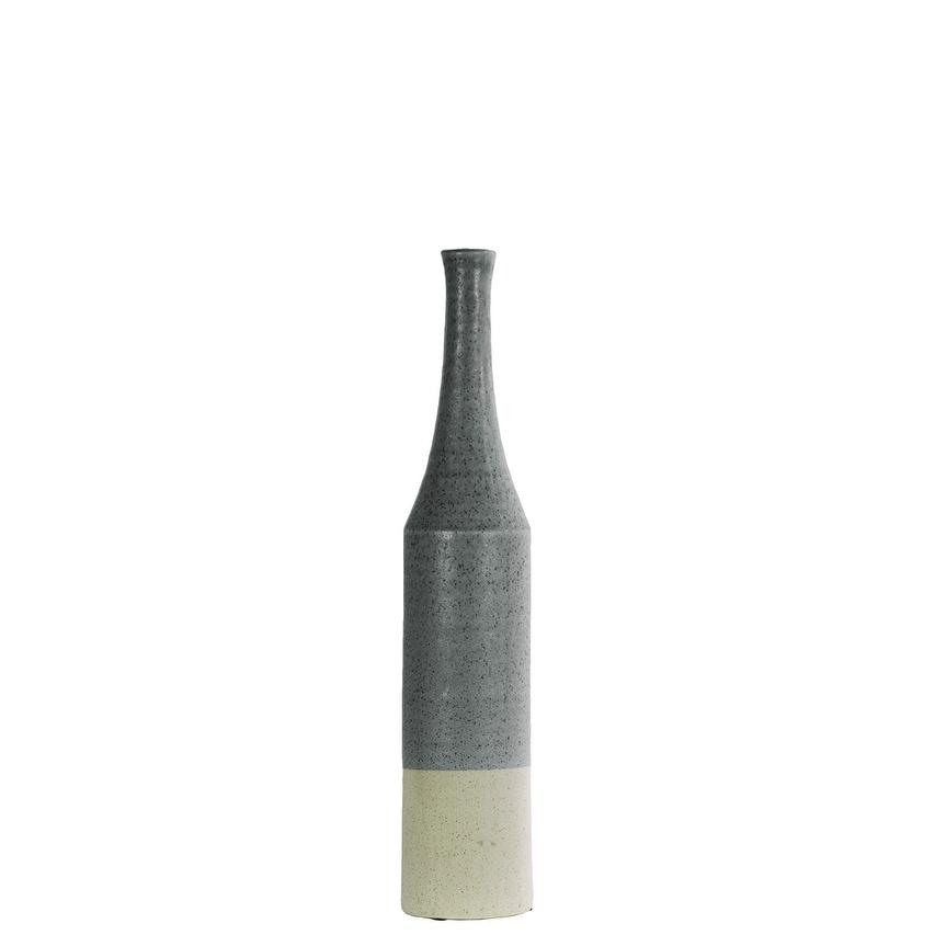 Long Neck Bottle Vase In Ceramic, Silver