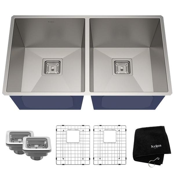 KRAUS Pax Stainless Steel 31 1/2 inch 2-Bowl Undermount Kitchen Sink. Opens flyout.