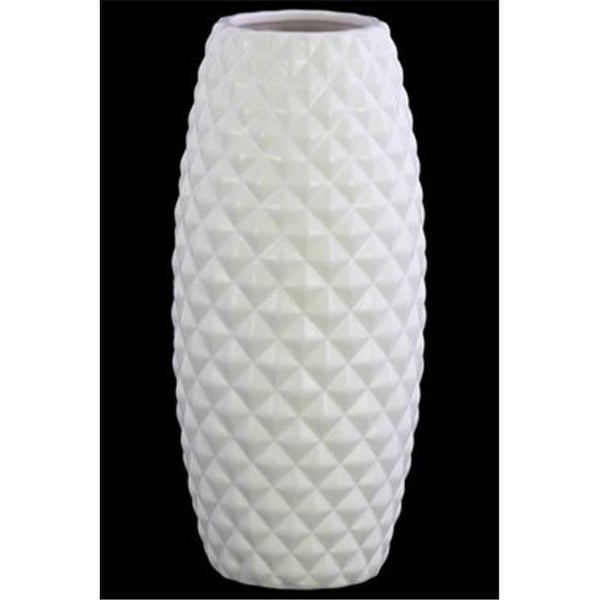 1bd6f1951c3 Shop Ceramic Bellied Round Vase with Engraved Lattice Diamond Design - Free  Shipping Today - Overstock - 24884438