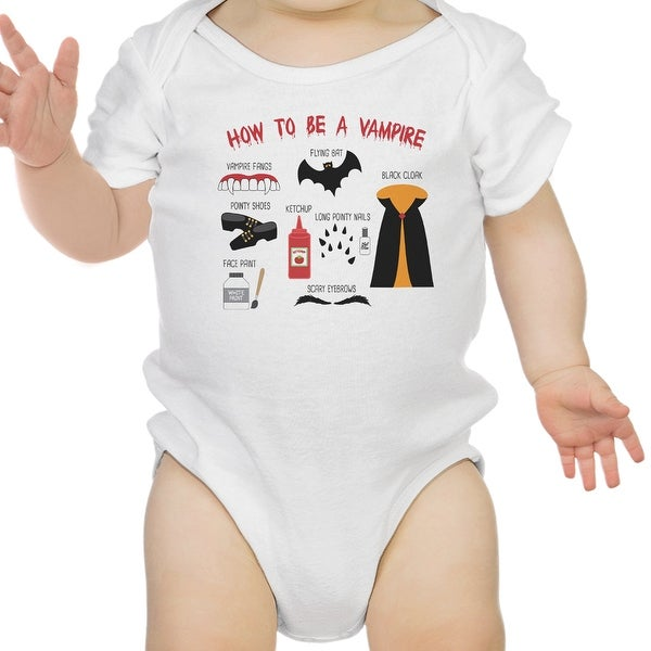 Vampire Steps Halloween Baby Bodysuit White Cute Baby Boy Bodysuit