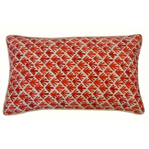 Jiti Red Geometric Transitional Sunbrella Outdoor Pillows - 12 x 20