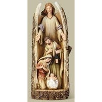 "12"" Joseph Studio Angel with Holy Family Carved in a Log Religious Table Top Figure"