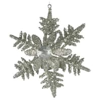 """Set of 2 Snowflakes with Flower Large Tealight Hanging Christmas Ornaments 6.5"""""""