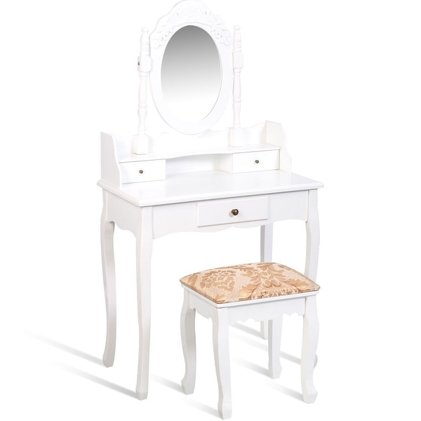 White Vanity Makeup Dressing Table with Rotating Mirror + 3 Drawers