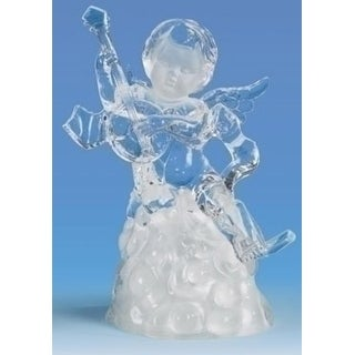 "6.5"" Icy Crystal LED Religious Cherubs with Lute Christmas Figure"